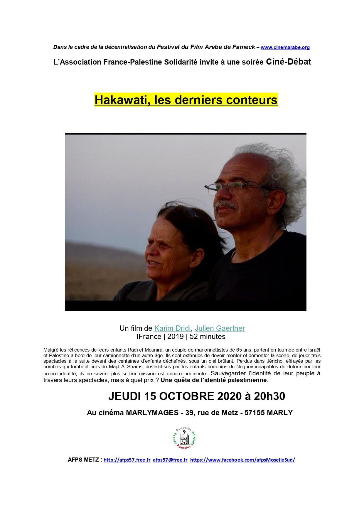 Tract de la projection du film Hakawati à Marly
