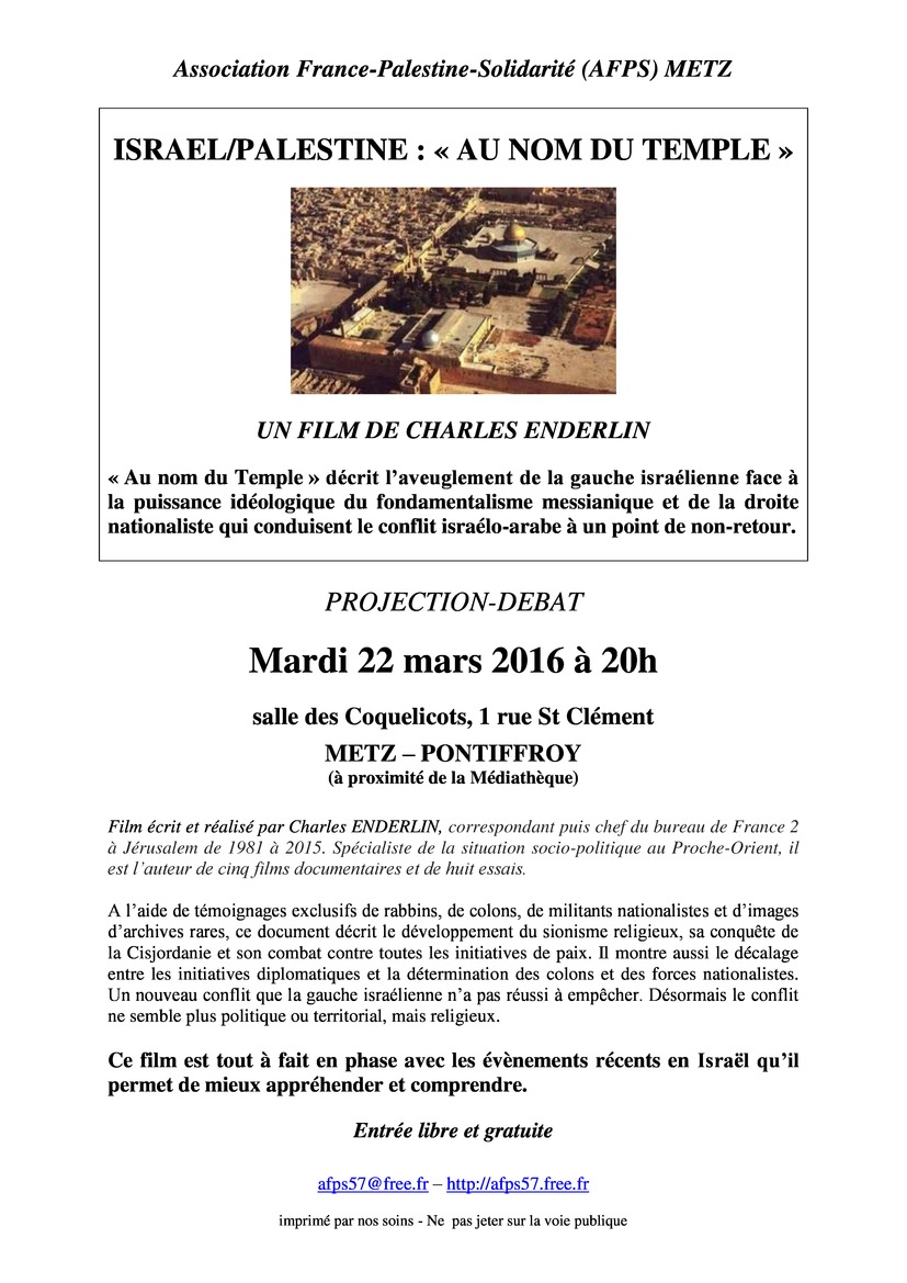 Tract de la projection du film Au nom du Temple